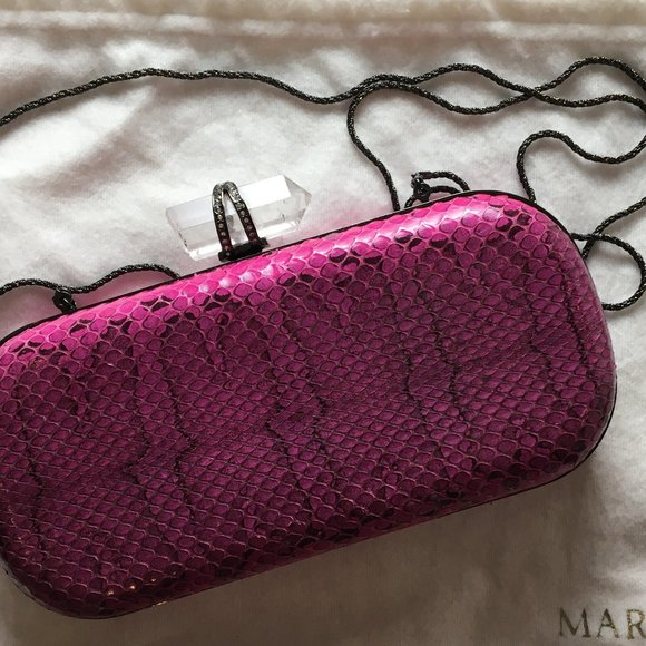 Marchesa clutch with removable metal rope strap